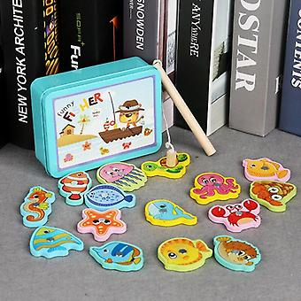 Fish Wooden Iron Box Magnetic Fishing Game Toy Baby Parent Child  Boys|Fishing Toys