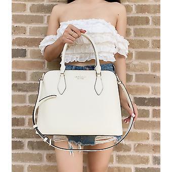 Kate spade darcy grande top zip satchel crossbody pergaminho branco couro branco