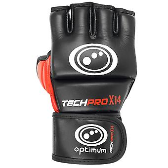 Optimum Techpro X14 MMA Grappling Gloves Black/Red