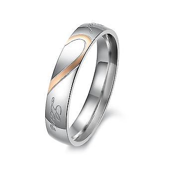 (Vrouwen VS maat 5)  Liefde koppels ringen roestvrij staal hem en haar bijpassende hart puzzel ringen