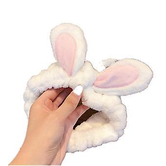 3PCS  Wash Face Women Girls Hairbands Soft Warm Coral Fleece Bow Animal Ears Headbands Headwear Hair