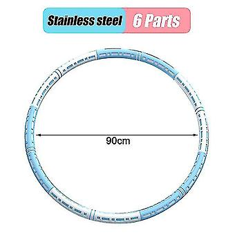 Rustfrit stål Sport Hoop Gym Derhjemme Massage Talje Ring Vægttab Hulla Circle (Hvid Blå)