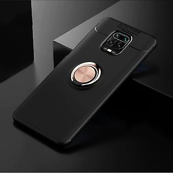 Keysion Xiaomi Mi Note 10 Case with Metal Ring - Auto Focus Shockproof Case Cover Cas TPU Black-Gold + Kickstand
