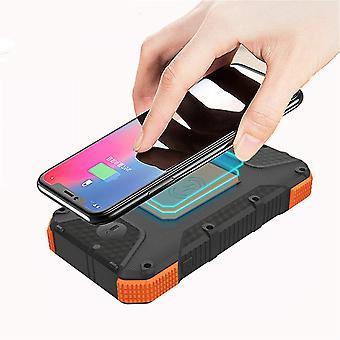 Tragbare drahtlose 20.000mAh Qi Solar Power Bank mit LED-Taschenlampe und IP6 wasserdichtes Telefon-Ladegerät für Camping, (orange)