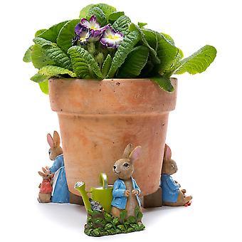 Full Colour Beatrix Potter Peter Rabbit Potty Feet Plant Pot Feet x 3 - Pot Risers, Pot Stands, Plant Supports, Yard Art.