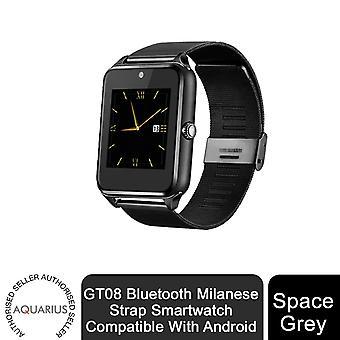 Aquarius GT08 Bluetooth Milanese Strap Smartwatch kompatibel med Android, Space Grey