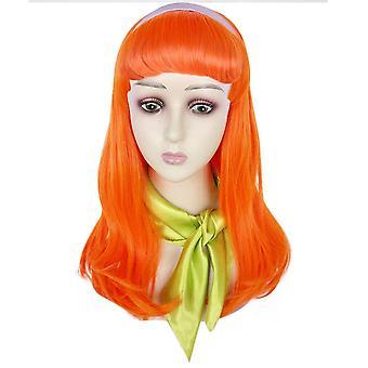Scooby-Doo Daphne Blake Pruiken Lange Krul Synthetisch Haar Pruiken Oranje