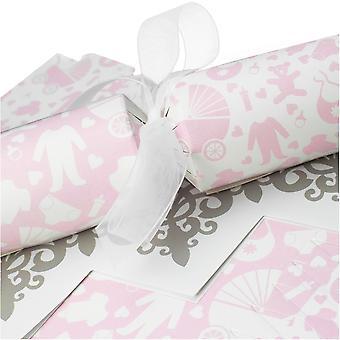 10 Pink Baby Shower Cracker - Machen & Füllen Sie Ihr eigenes Kit ohne Bänder