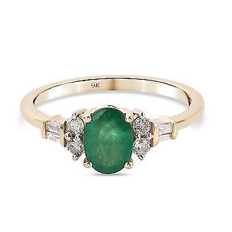 TJC Emerald Engagement Solitaire Ring Women 9K Yellow Gold White Diamond 0.96ct(M)