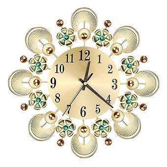 Gran reloj de lujo decoración reloj de pared silent Rhinestone forma de flor para la decoración del hogar