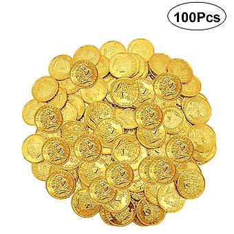 100 Pirate Plastic Gold Coin Props Jouets (or)