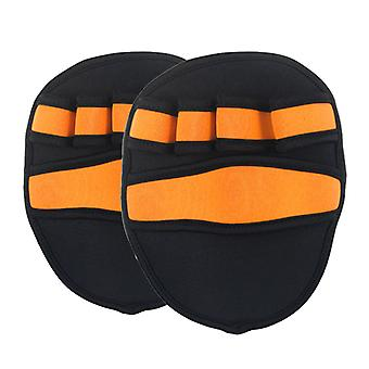 1 Pair Weightlifting Fitness Hand Protector Anti-skid Skid Breathable Sports Palms Guard (orange)