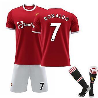Cristiano Ronaldo 7# Cr7 Jersey Home 2021-2022 Sezóna Manchester Soccer Tričká Jersey Set pre deti mládež