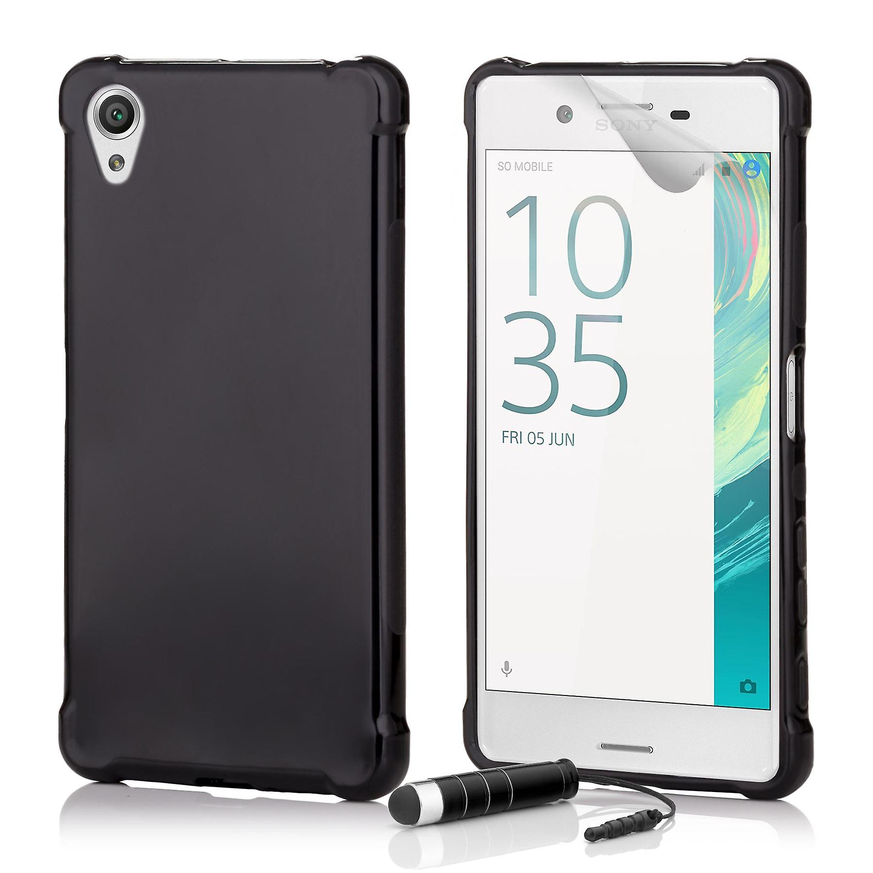 Tough Gel case + stylus for Sony Xperia XA - Black