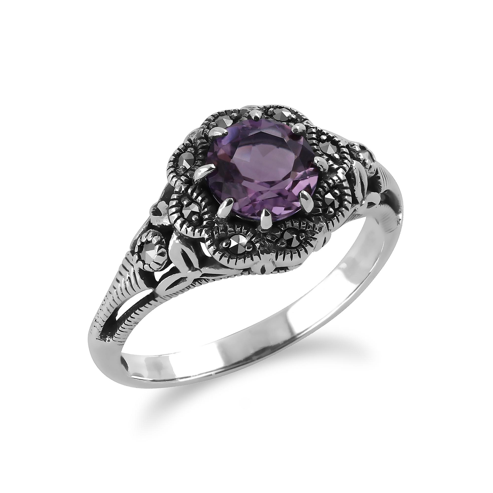 Sterling Silver 0.6ct Amethyst & Marcasite Ring