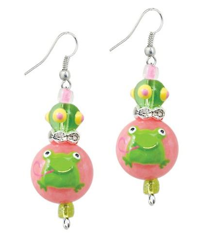 Little Green Frogs Rhinestone Glass Beaded Kate and Macy Earrings