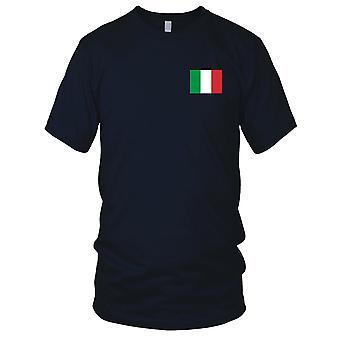 Drapeau National du pays italien Italie - brodé Logo - T-Shirt 100 % coton T-Shirt Mens
