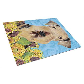 Carolines Treasures  SC9069LCB Airedale Glass Cutting Board Large