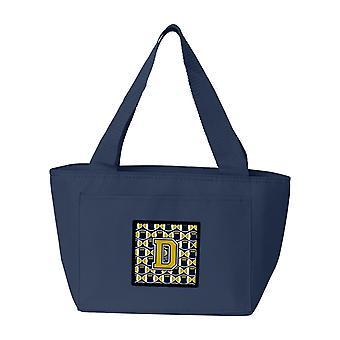 Carolines tesoros CJ1074-ADN-8808 letra D fútbol azul y oro bolsa de almuerzo