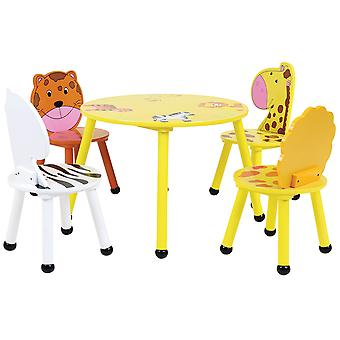 Charles Bentley children's Jungle Safari tabla de madera y 2/4 sillas Set Furniture-Limpie la superficie limpia
