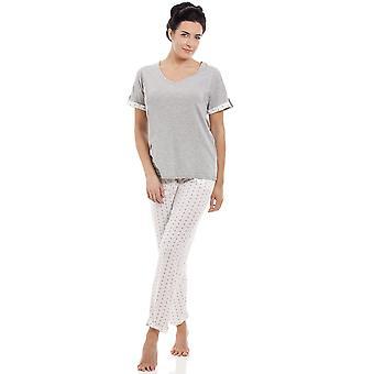 Camille dames grijs katoen mix korte mouw Full Length pyjama's Set