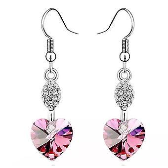 Ladies Heart Shaped Dangle Light Pink Earrings Charm