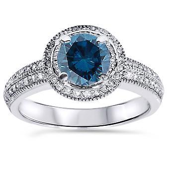 1 1 / 3ct Blue Diamond Vintage Ring 14K Weissgold