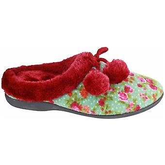 Mirak damer Chabilis textil Fuzzy fuskpäls krage toffel röd