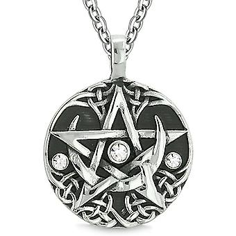 Amulet Pentacle Magic Super Star Celtic Flames Defense White Crystals Pentagram Pendant Necklace