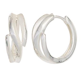 Hoop earrings earrings rhodium plated 925 Sterling Silver earrings silver Keywork partly frosted