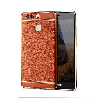 Mobile Shell para Huawei P10 Lite bolsa de caso de protección bolsa tope de piel sintética marrón