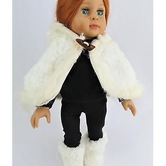 "18"" Doll Clothing, 4 PC Set Hooded Faux Fur Cape w/ black leggings, long sleeve shirt and booties"