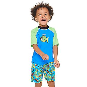 Zoggs Fishy Business Short Sleeve UPF 50+ Sun Top Blue