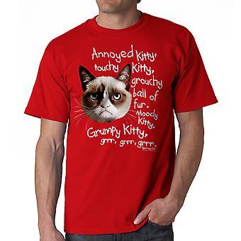 Grumpy Cat Grrr foto mannen rood grappig T-shirt