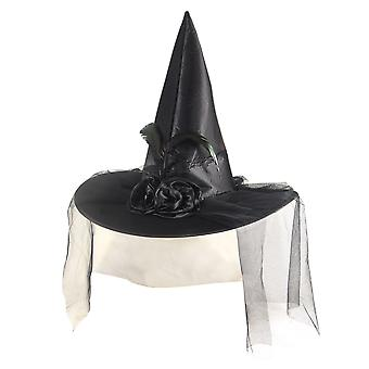 Henbrandt Black Satin Witch Hat With Feather, Flower & Netting