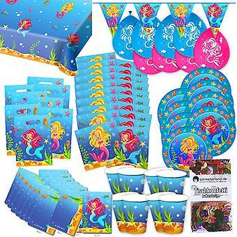 Sereia Sereia box 63 - teilig decorativo mar virgem festa festa pacote de festa