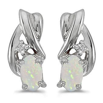LXR 10k valkoinen kulta soikea opaali ja timantti korvakorut 0.16ct