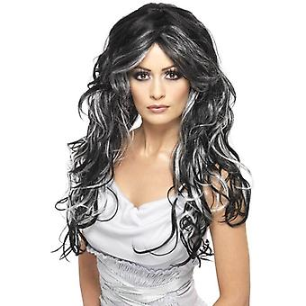Long Black and Grey (Silver) Wavy Wig, Gothic Bride Wig.