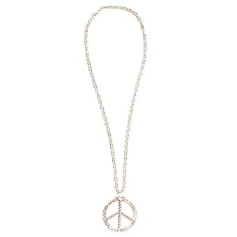 Peace Sign Necklace Silver Metal