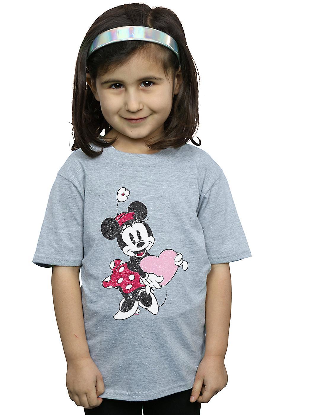 Disney Girls Minnie Mouse Love Heart T-Shirt