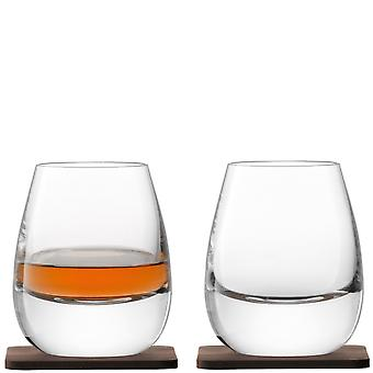 LSA International Whisky Islay Tumblers On Walnut Coasters - Set Of 2