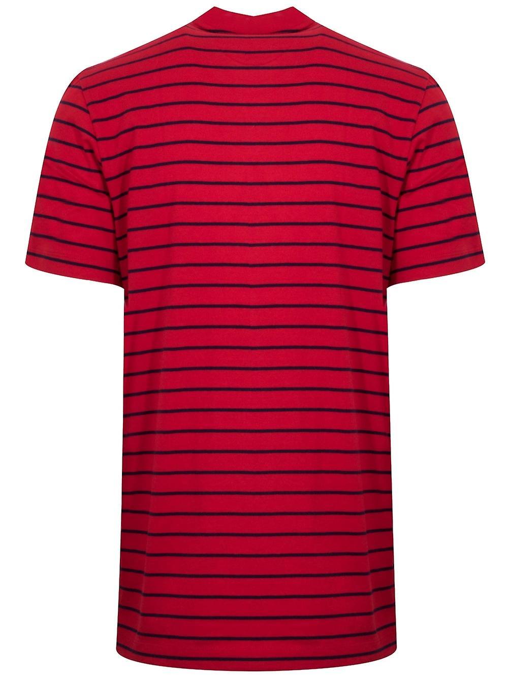 T-shirt à col d'équipage rayé Lacoste Red et Navy