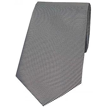 David Van Hagen horizontale côtelée cravate Polyester - gris