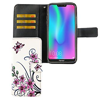 Huawei P inteligentne 2019 Pocket mobile sprawa ochrony okładka Flip case z posiadaczem karty kwiat lotosu