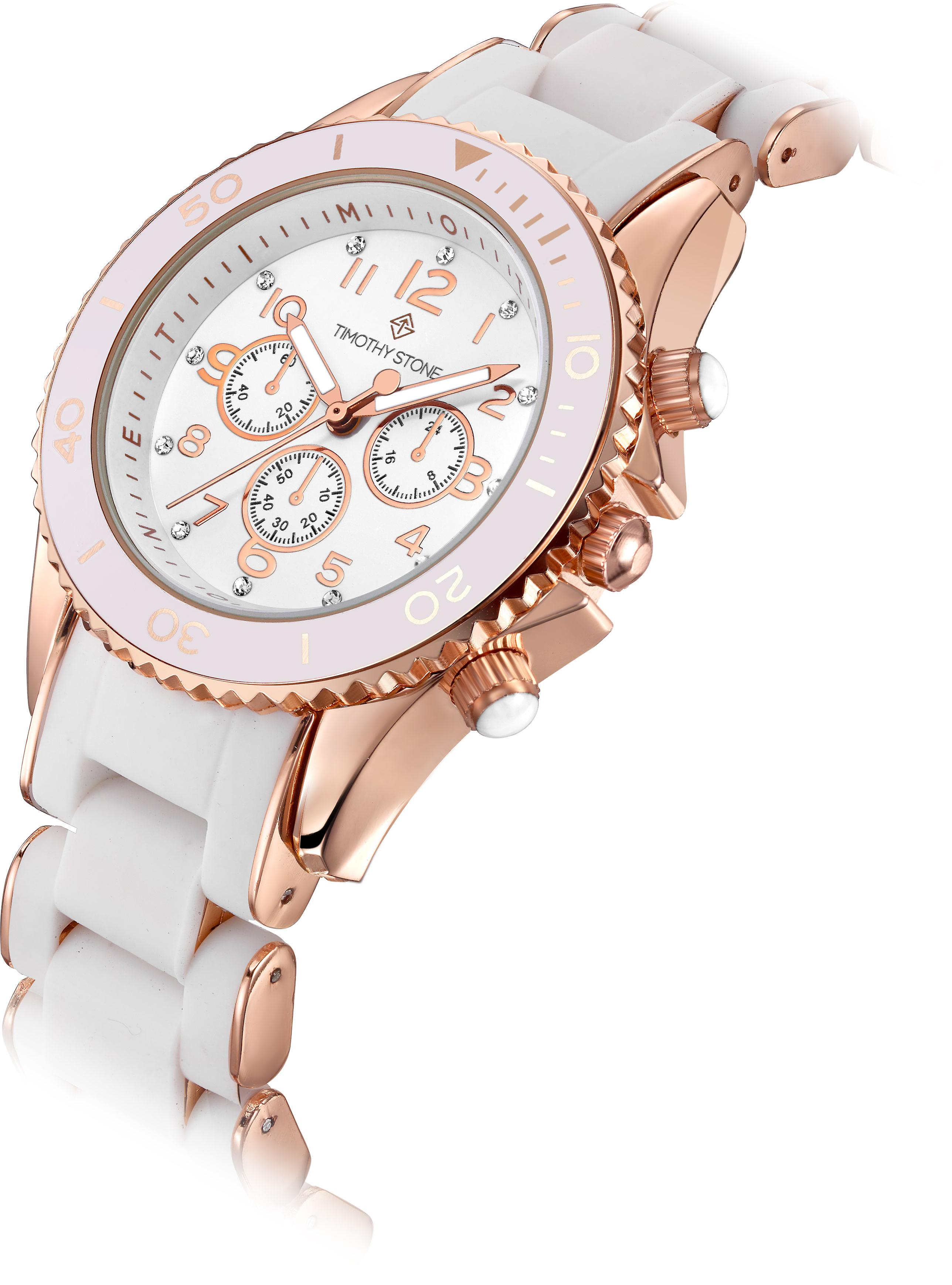 Timothy Stone Women's AMBER-SILICONE White and Rose Gold-Tone Watch