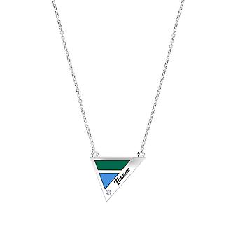 Tulane University Engraved Sterling Silver Diamond Geometric Necklace In Green & Sky Blue