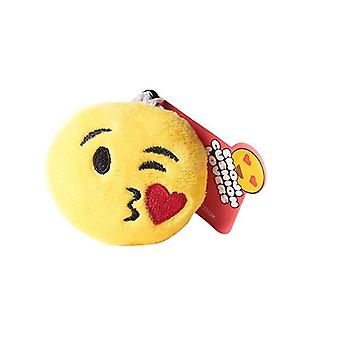 Emoji Cushion Keyring - Kiss Wink