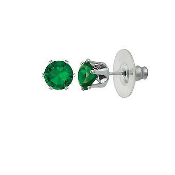 Evig samling Tara Emerald grønne krystallklar sølv Tone Stud pierca øredobber