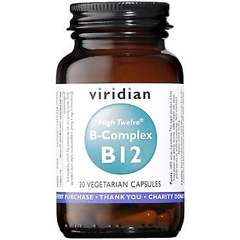Viridian HIGH TWELVE Vitamine B12 avec B-Complex Veg Caps 30 (255)