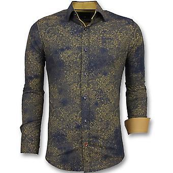 Cheap Italian Shirts-Slim Fit Blouse men-3009-Blue